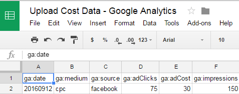 Google Analytics Cost Data Import from Google Sheets - Automated